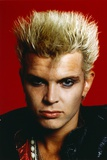 Billy Idol Close Up Portrait with Red Background