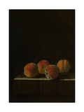Four Apricots on a Stone Plinth