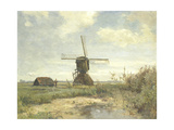Landscape with a Mill Near the Water in the Foreground Left a Man with a Fishing Rod in a Shed