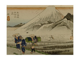 Two Women and a Servant Walk Through Rice Fields  with Mount Fuji in the Background