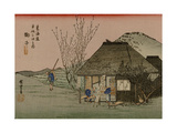 Two Travelers Drink Tea at a Rest Area on the Tokaido