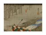 A Procession of a Warlord (Daimyo) Crosses a Bridge During a Rainstorm