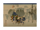 Two Travelers Leaving the Station Mishima
