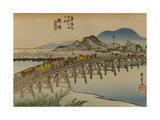 A Procession of a Daimyo Cross the Bridge over the Yahagi River in the Direction of Okazaki