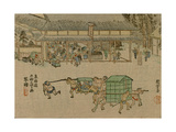 Face of Several Tea Houses in the Foreground with Servants Carrying Baskets