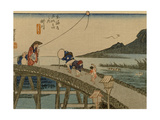 Travelers Walk over the Bridge to the River Kake  a Kite Is Embarrassed by the Other Side