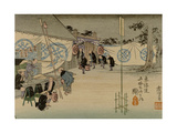Scene Outside a Resting Place Along the Tokaido Where a Warlord (Daimyo) Is Stopped for the Night