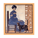 Woman Sitting on a Chair Holding a Book with a Cat Looking On