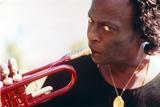 Miles Davis with Trumpet Close Up Portrait