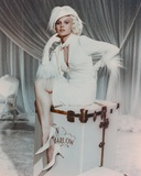 Carroll Baker in White Furry Sleeve Dress