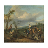 Italian Landscape with Travellers with Wine Casks