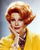Arlene Dahl in Yellow Coat with Scarf Close Up Portrait