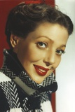 Loretta Young Red Lips and Checkered Black and White Coat