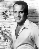 Harry Belafonte in White With Flower background