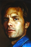 Michael Biehn Posed in Close-up Portrait wearing Blue Denim Jacket