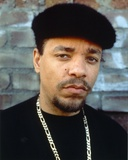 Ice t wearing a Black Shirt with a Necklace