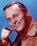 Frank Gorshin Posed in Red Shirt Pointing at the Photographer