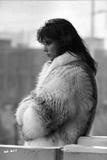 Rachel Ward Looking Away wearing Fur Coat Candid Portrait in Black and White