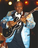 BB King Performing on Stage using Black Les Paul in Silk Blue Tuxedo with Black Cuffs