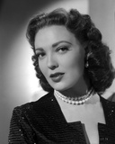Linda Darnell posed wearing Pearl Necklace in Black and White