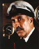 Christopher Lee in Navy Attire Close Up Portrait