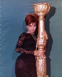 Fran Jeffries posed in Black Dress
