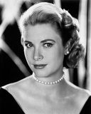 Grace Kelly Curly Hair  Red lipstick wearing Black Gown Portrait