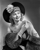 Lucille Ball smiling in Elegant Dress Portrait with Hat