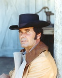 James Garner Posed In Brown Leather Jacket and Grey Shirt with Black Cowboy Hat