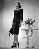 Gloria DeHaven posed in Black Formal Dress in Black and White