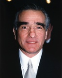 Martin Scorsese Close-up Portrait wearing Black Suit with Silver Tie