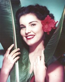 Debra Paget Close Up Portrait with a Flowers on Her Hair