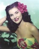 Debra Paget Close Up Portrait wearing Floral Dress