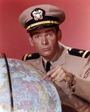 Dean Jones Portrait in Army Uniform Pointing the Globe