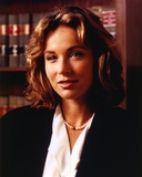 Jennifer Grey Close Up Portrait in Black Coat and Pearl Necklace