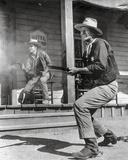 Rio Bravo Gun Fight Scene in Black and White