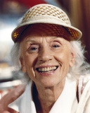 Jessica Tandy Portrait in White Strawhat and White Collar Shirt