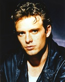 Michael Biehn Posed in Close-up Portrait wearing Black Leather Jacket