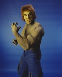 Lou Ferrigno Posed as Incredible Hulk with Blue Background