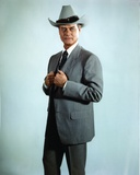 Larry Hagman Posed in Grey Coat with Cowboy Hat