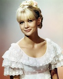 Judy Geeson in a Ruffled Top and smiling Portrait