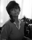 Rachel Ward Looking Away wearing Collared Sweater Black and White Portrait