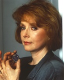 Piper Laurie in Close Up Portrait in Black Formal Coat