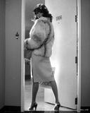 Rachel Ward Posed wearing Fur Coat in Black and White Portrait
