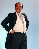 Jeffersons Posed in Black Sport Coat and White Vest Suit with Stripe Necktie