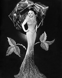 Mae West standing Posed in Black and White