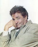 Peter Falk Posed in Gray Coat Portrait with White Background
