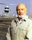 Pernell Roberts Posed with Helicopter at the Back Portrait