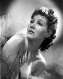 Jean Parker Portrait in Sheer Silk Top Shoulder Dress with Left Hand on the Chest