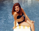 Patty Duke Seated on Diving Board in Blue Two Piece